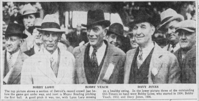 1938 -- 04-23 - PHOTO - Eddie Cicotte with old-timers at Briggs Stadium - Opening Day - Detroit Free Press