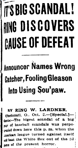 Lardner-WS-scandal-column-headline-1919-10-03-ChiTrib