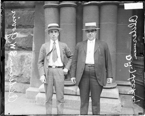 """Sheldon """"Frank"""" Govier, left, Chicago's 9th Ward alderman, attempted to restrict the Black Sox from playing baseball in 1921 by revoking the license of a ballpark operator, but his resolution in the City Council was turned down. (Chicago Daily News Collection, Chicago History Museum, DN-0070379)"""