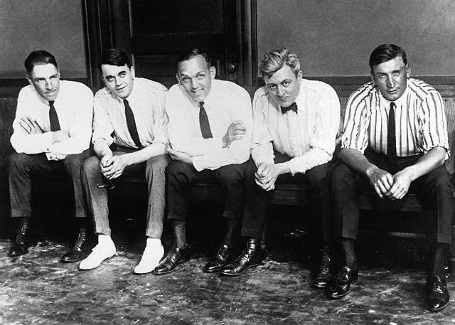 From left, Swede Risberg, attorney Michael Ahern, Buck Weaver, attorney Thomas Nash, and Happy Felsch take a break during the Black Sox criminal trial in July 1921.  In the months leading up to their trial, Risberg, Felsch,  Joe Jackson, Chick Gandil, and Lefty Williams formed an independent team that played baseball at the White City Amusement Park in Chicago.  (Photo: BlackBetsy.com)